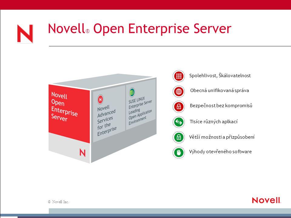 © Novell Inc. Novell ® Open Enterprise Server Větší možnosti a přizpůsobení Bezpečnost bez kompromisů Obecná unifikovaná správa Výhody otevřeného soft