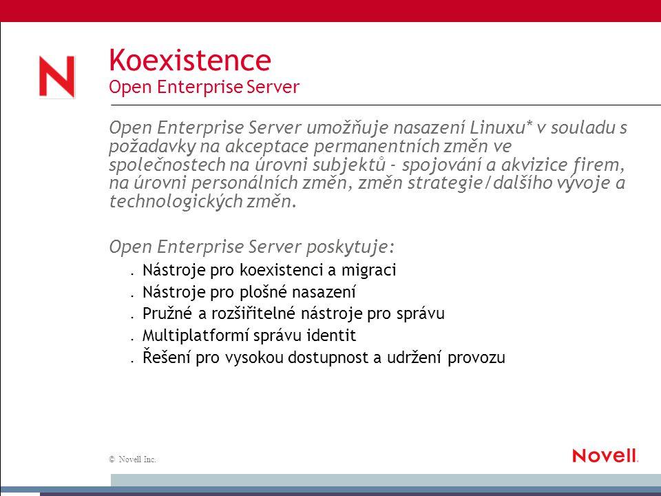 © Novell Inc. Koexistence Open Enterprise Server Open Enterprise Server umožňuje nasazení Linuxu* v souladu s požadavky na akceptace permanentních změ