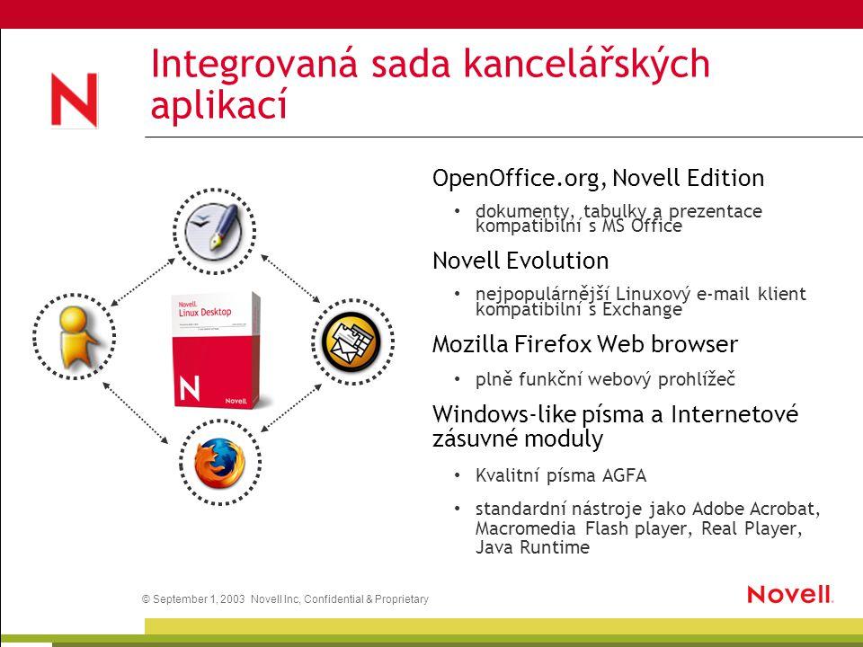 © September 1, 2003 Novell Inc, Confidential & Proprietary Integrovaná sada kancelářských aplikací OpenOffice.org, Novell Edition dokumenty, tabulky a