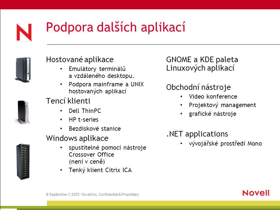 © September 1, 2003 Novell Inc, Confidential & Proprietary Podpora dalších aplikací Hostované aplikace Emulátory terminálů a vzdáleného desktopu. Podp