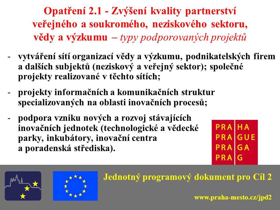 Opatření 2.1 - Zvýšení kvality partnerství veřejného a soukromého, neziskového sektoru, vědy a výzkumu – typy podporovaných projektů -vytváření sítí organizací vědy a výzkumu, podnikatelských firem a dalších subjektů (neziskový a veřejný sektor); společné projekty realizované v těchto sítích; -projekty informačních a komunikačních struktur specializovaných na oblasti inovačních procesů; -podpora vzniku nových a rozvoj stávajících inovačních jednotek (technologické a vědecké parky, inkubátory, inovační centra a poradenská střediska).
