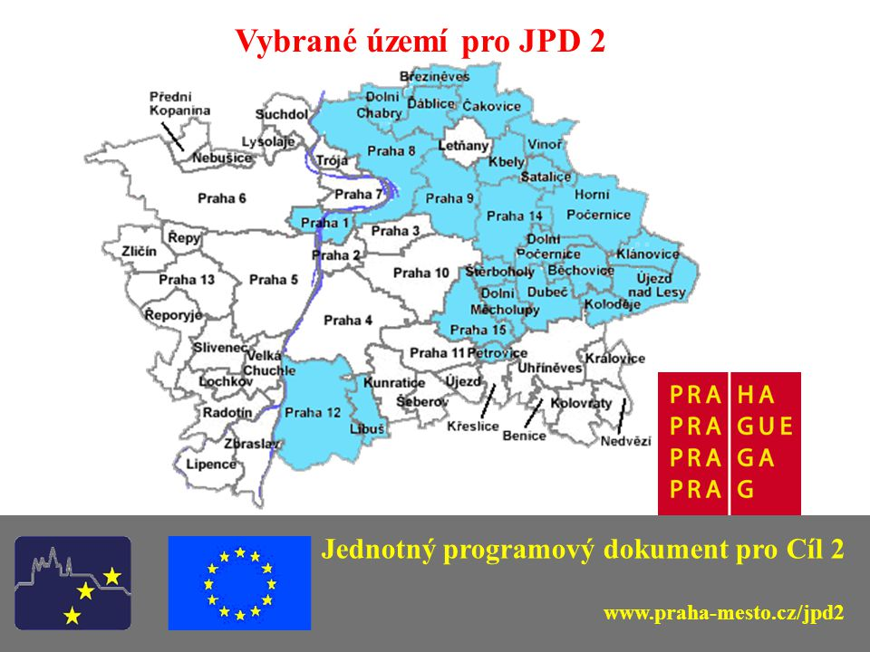 Priorita 2 31 793 358 EUR (1 035 032 800 Kč) Opatření 2.1 (44 %) Opatření 2.2 (39 %) Opatření 2.3 (17 %) Jednotný programový dokument pro Cíl 2 www.praha-mesto.cz/jpd2