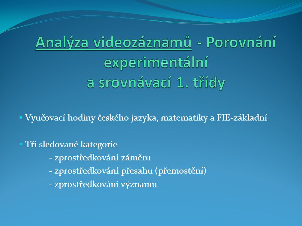  Vyučovací hodiny českého jazyka, matematiky a FIE-základní  Tři sledované kategorie - zprostředkování záměru - zprostředkování přesahu (přemostění) - zprostředkování významu