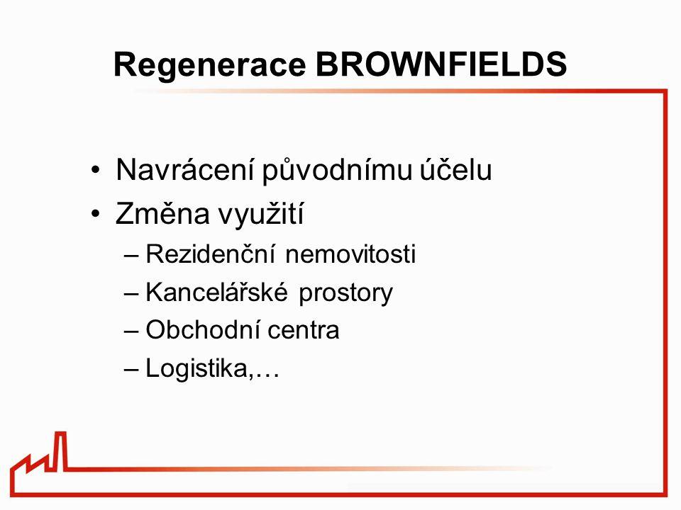 Regenerace BROWNFIELDS Navrácení původnímu účelu Změna využití –Rezidenční nemovitosti –Kancelářské prostory –Obchodní centra –Logistika,…
