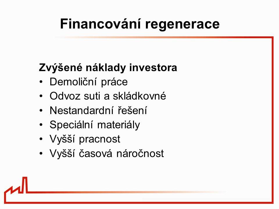 Financování regenerace Zvýšené náklady investora Demoliční práce Odvoz suti a skládkovné Nestandardní řešení Speciální materiály Vyšší pracnost Vyšší časová náročnost