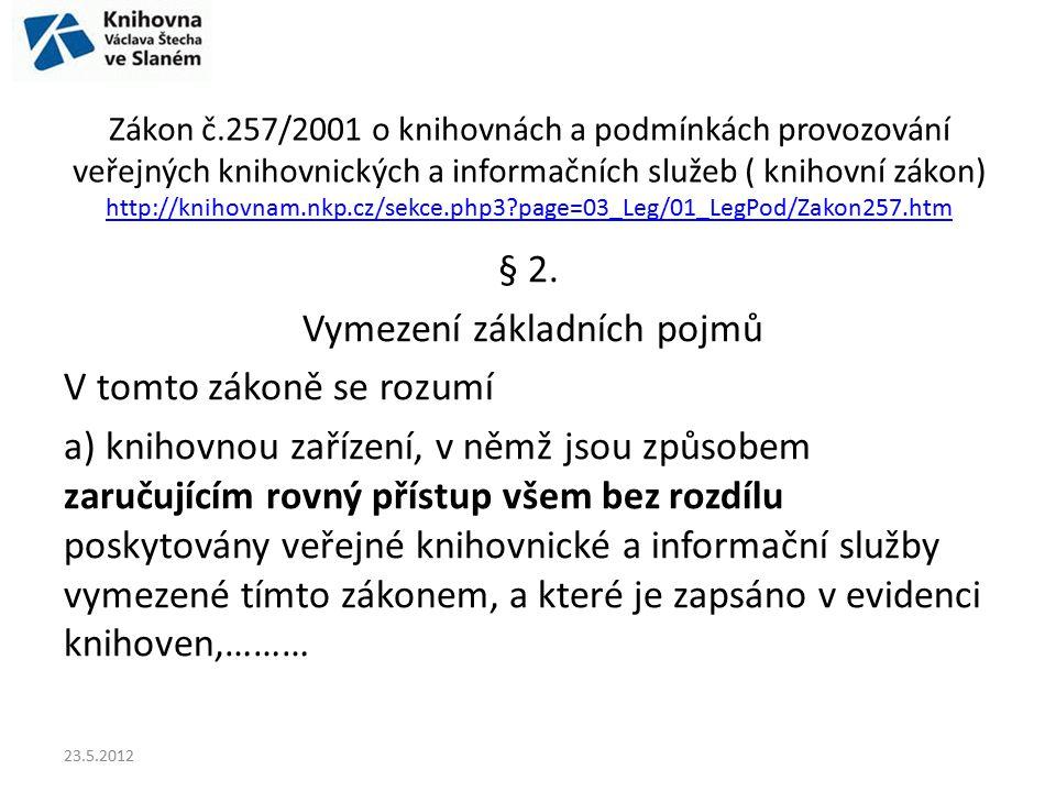 Zákon č.257/2001 o knihovnách a podmínkách provozování veřejných knihovnických a informačních služeb ( knihovní zákon) http://knihovnam.nkp.cz/sekce.p