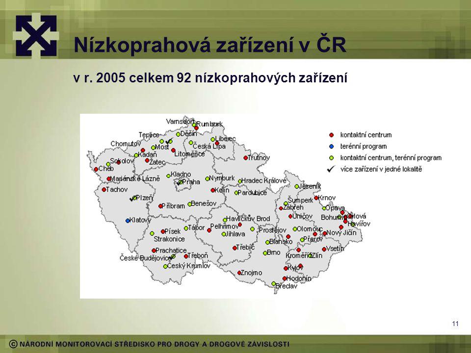 11 Nízkoprahová zařízení v ČR v r. 2005 celkem 92 nízkoprahových zařízení