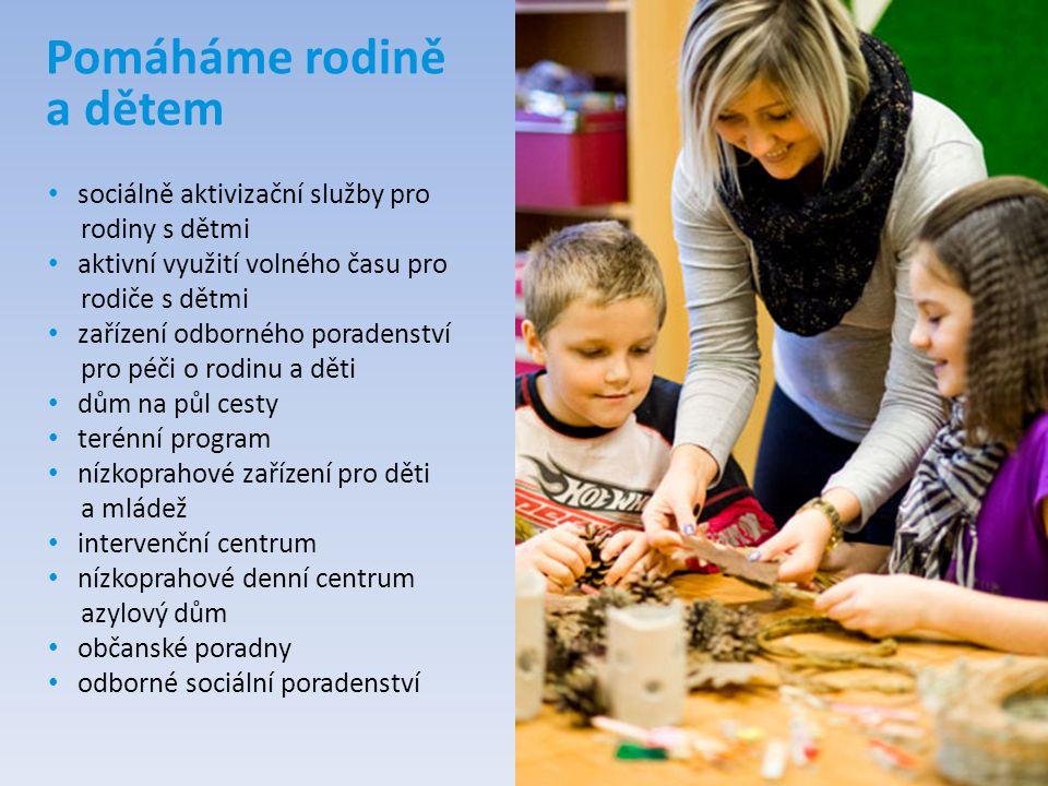 Pomáháme rodině a dětem sociálně aktivizační služby pro rodiny s dětmi aktivní využití volného času pro rodiče s dětmi zařízení odborného poradenství
