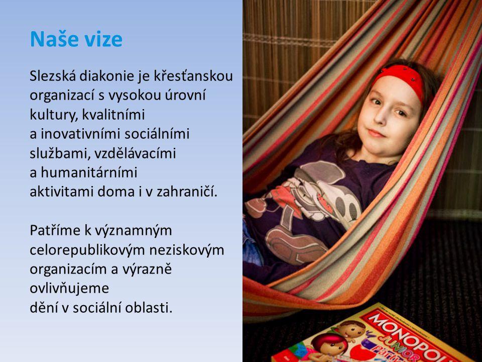 Naše vize Slezská diakonie je křesťanskou organizací s vysokou úrovní kultury, kvalitními a inovativními sociálními službami, vzdělávacími a humanitár