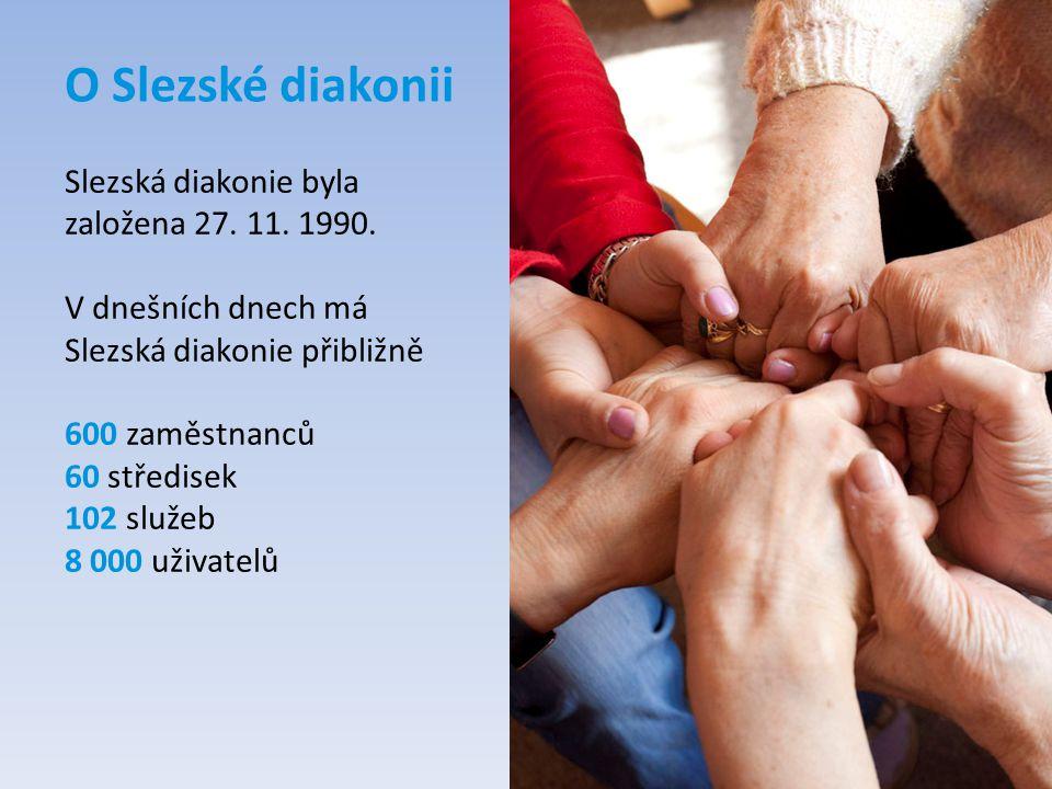 O Slezské diakonii Slezská diakonie byla založena 27. 11. 1990. V dnešních dnech má Slezská diakonie přibližně 600 zaměstnanců 60 středisek 102 služeb