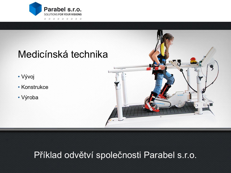 2 divize společnosti Parabel s.r.o. Příklad odvětví společnosti Parabel s.r.o. Medicínská technika Vývoj Konstrukce Výroba
