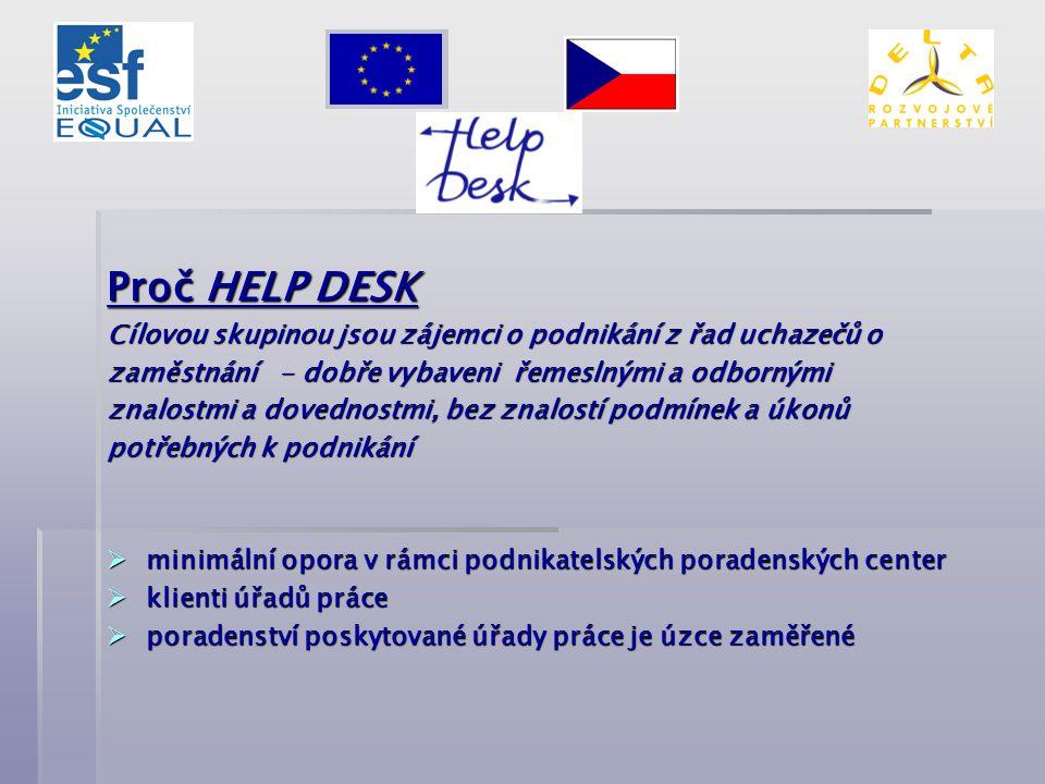 Proč HELP DESK Cílovou skupinou jsou zájemci o podnikání z řad uchazečů o zaměstnání - dobře vybaveni řemeslnými a odbornými znalostmi a dovednostmi,