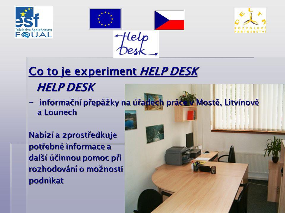 Co to je experiment HELP DESK HELP DESK HELP DESK – informační přepážky na úřadech práce v Mostě, Litvínově a Lounech Nabízí a zprostředkuje potřebné informace a další účinnou pomoc při rozhodování o možnosti podnikat