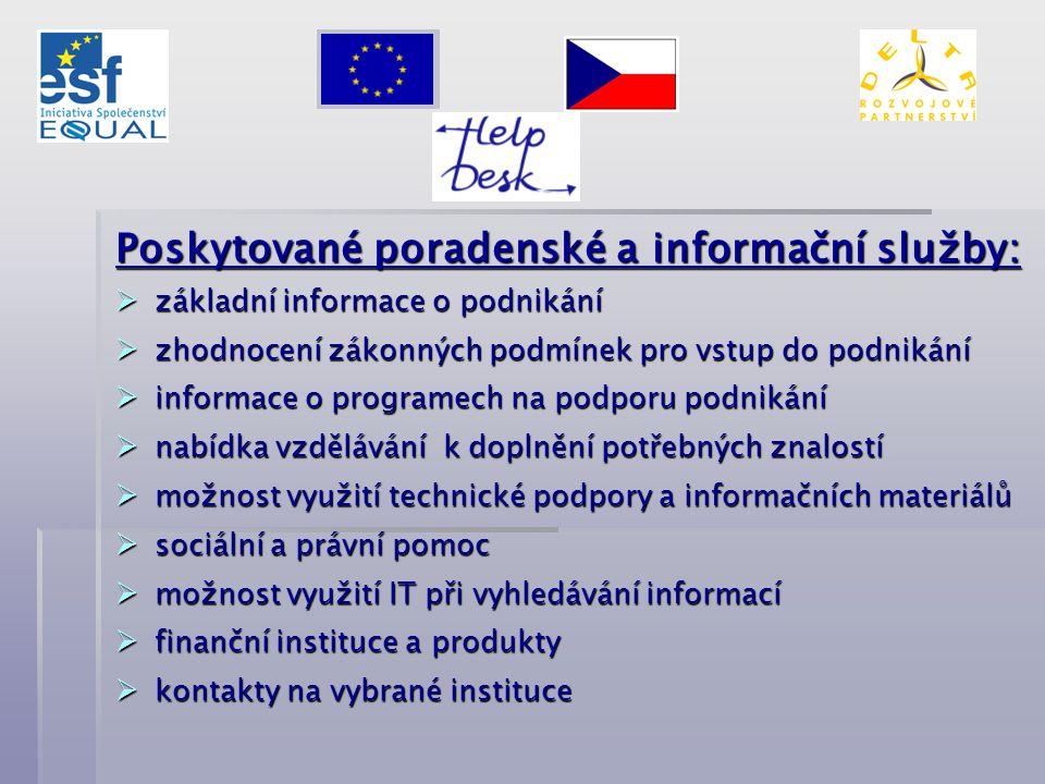 Poskytované poradenské a informační služby:  základní informace o podnikání  zhodnocení zákonných podmínek pro vstup do podnikání  informace o prog