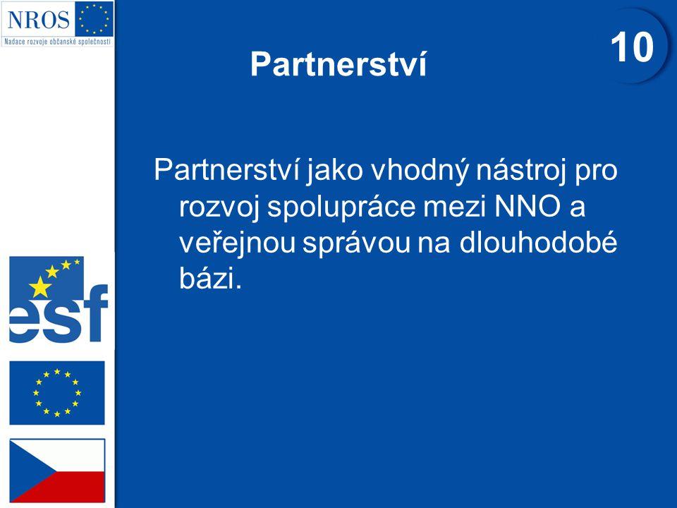 Partnerství Partnerství jako vhodný nástroj pro rozvoj spolupráce mezi NNO a veřejnou správou na dlouhodobé bázi.