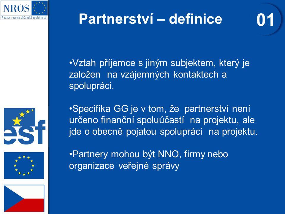 Partnerství – definice 01 Vztah příjemce s jiným subjektem, který je založen na vzájemných kontaktech a spolupráci.