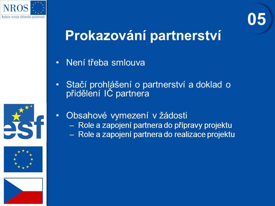 Není třeba smlouva Stačí prohlášení o partnerství a doklad o přidělení IČ partnera Obsahové vymezení v žádosti –Role a zapojení partnera do přípravy projektu –Role a zapojení partnera do realizace projektu Prokazování partnerství 05