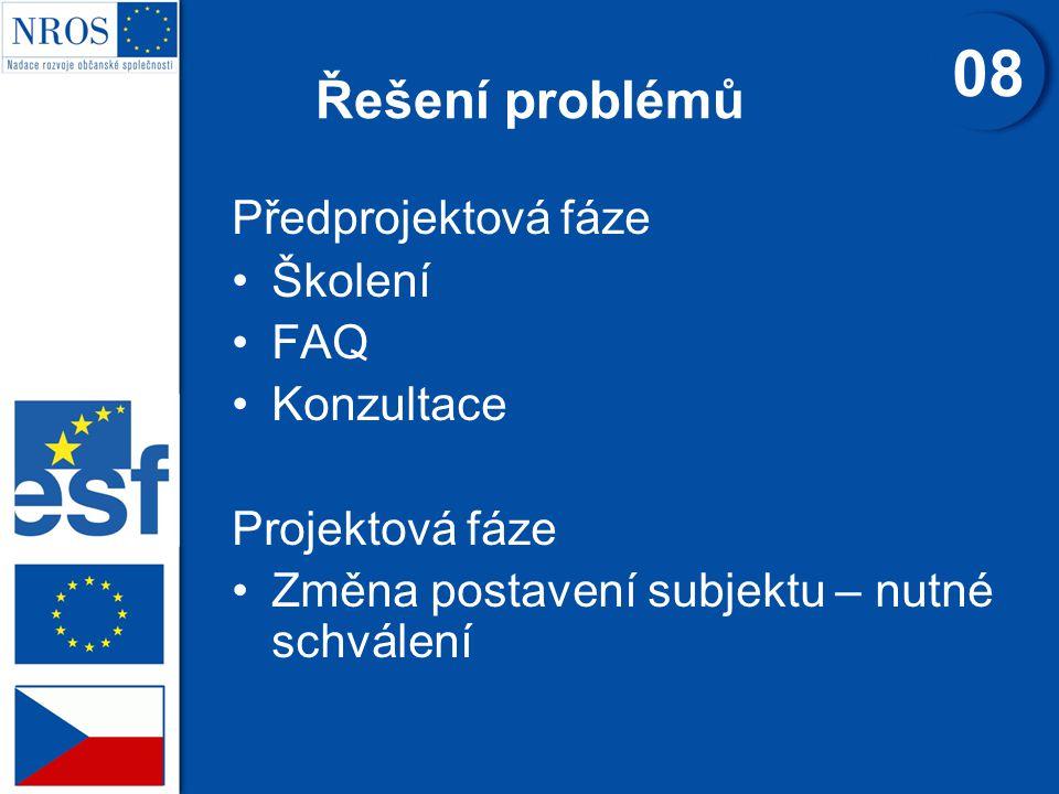 Řešení problémů Předprojektová fáze Školení FAQ Konzultace Projektová fáze Změna postavení subjektu – nutné schválení 08