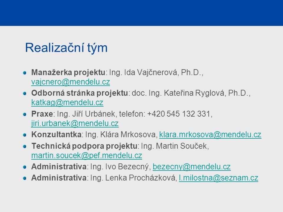 Realizační tým Manažerka projektu: Ing. Ida Vajčnerová, Ph.D., vajcnero@mendelu.cz vajcnero@mendelu.cz Odborná stránka projektu: doc. Ing. Kateřina Ry