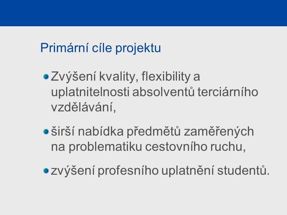 Primární cíle projektu Zvýšení kvality, flexibility a uplatnitelnosti absolventů terciárního vzdělávání, širší nabídka předmětů zaměřených na problema