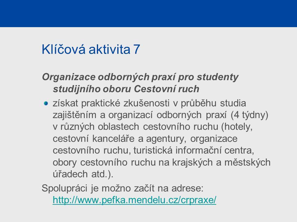 Klíčová aktivita 7 Organizace odborných praxí pro studenty studijního oboru Cestovní ruch získat praktické zkušenosti v průběhu studia zajištěním a or