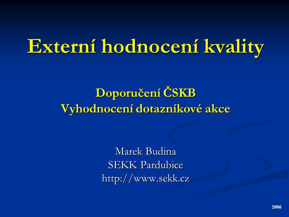 Externí hodnocení kvality Doporučení ČSKB Vyhodnocení dotazníkové akce Marek Budina SEKK Pardubice http://www.sekk.cz 2006