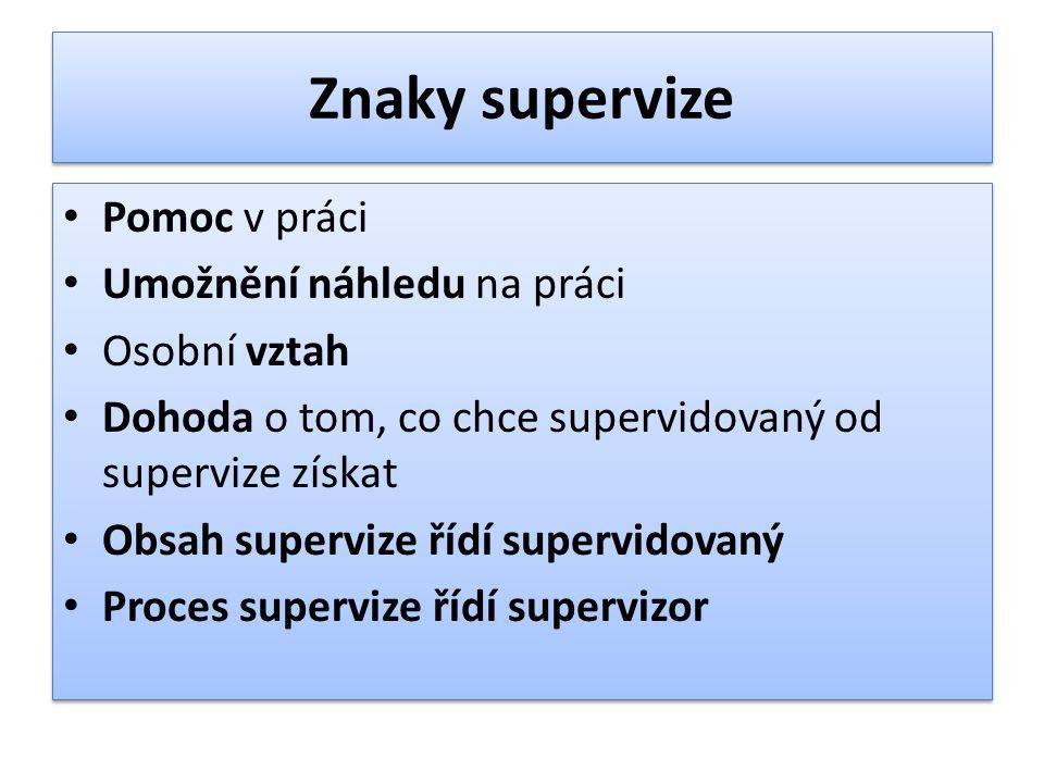 Znaky supervize Pomoc v práci Umožnění náhledu na práci Osobní vztah Dohoda o tom, co chce supervidovaný od supervize získat Obsah supervize řídí supe
