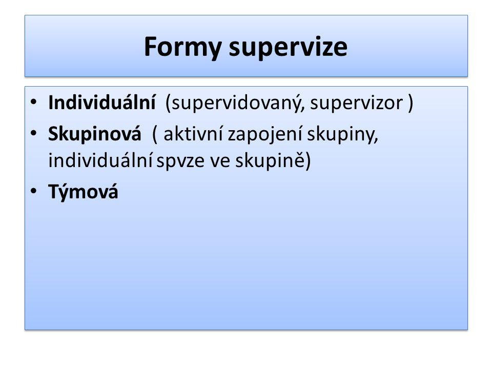 Formy supervize Individuální (supervidovaný, supervizor ) Skupinová ( aktivní zapojení skupiny, individuální spvze ve skupině) Týmová Individuální (su