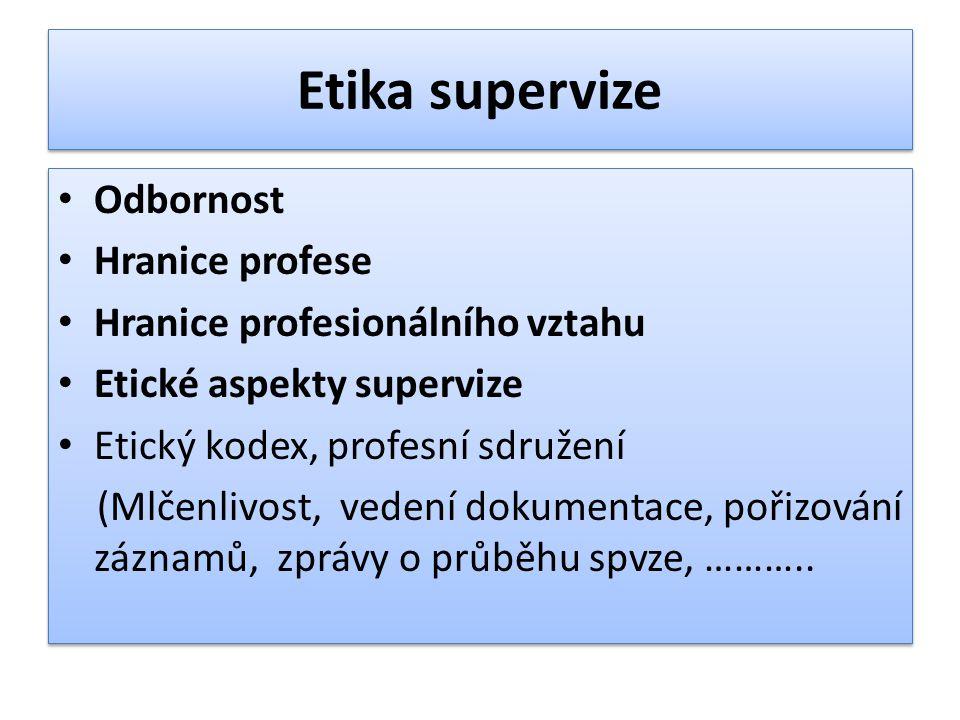 Etika supervize Odbornost Hranice profese Hranice profesionálního vztahu Etické aspekty supervize Etický kodex, profesní sdružení (Mlčenlivost, vedení