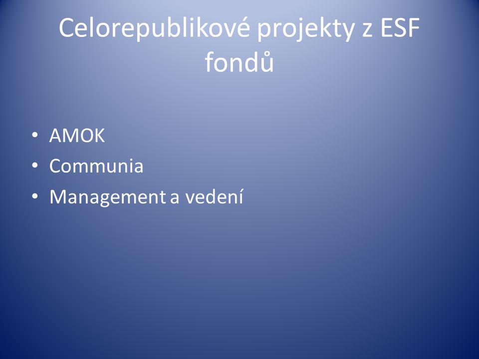 Celorepublikové projekty z ESF fondů AMOK Communia Management a vedení