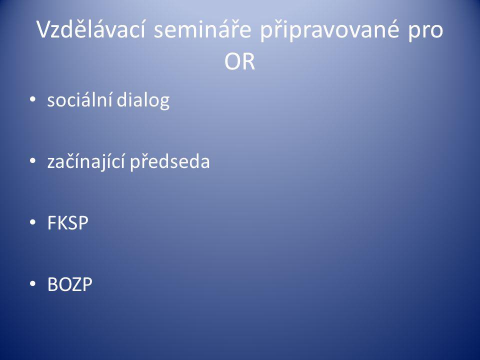 Vzdělávací semináře připravované pro OR sociální dialog začínající předseda FKSP BOZP