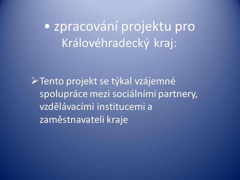 zpracování projektu pro Královéhradecký kraj:  Tento projekt se týkal vzájemné spolupráce mezi sociálními partnery, vzdělávacími institucemi a zaměst