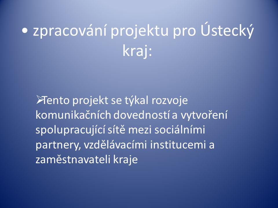 zpracování projektu pro Ústecký kraj:  Tento projekt se týkal rozvoje komunikačních dovedností a vytvoření spolupracující sítě mezi sociálními partne