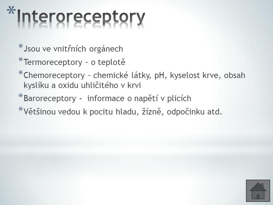 * Jsou ve vnitřních orgánech * Termoreceptory – o teplotě * Chemoreceptory – chemické látky, pH, kyselost krve, obsah kyslíku a oxidu uhličitého v krv