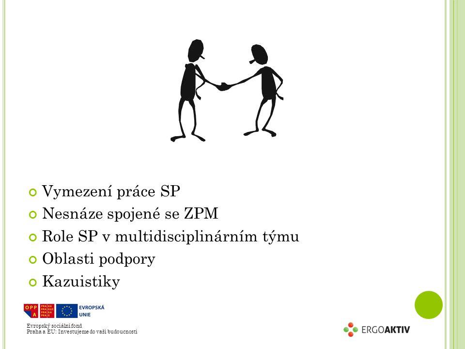 Evropský sociální fond Praha a EU: Investujeme do vaší budoucnosti Vymezení práce SP Nesnáze spojené se ZPM Role SP v multidisciplinárním týmu Oblasti podpory Kazuistiky