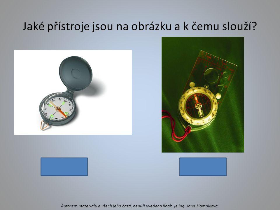 Jaké přístroje jsou na obrázku a k čemu slouží? kompasbuzola Autorem materiálu a všech jeho částí, není-li uvedeno jinak, je Ing. Jana Homolková.
