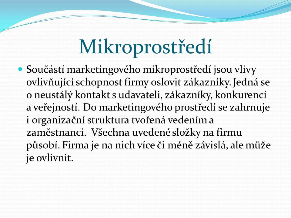 Mikroprostředí Součástí marketingového mikroprostředí jsou vlivy ovlivňující schopnost firmy oslovit zákazníky. Jedná se o neustálý kontakt s udavatel