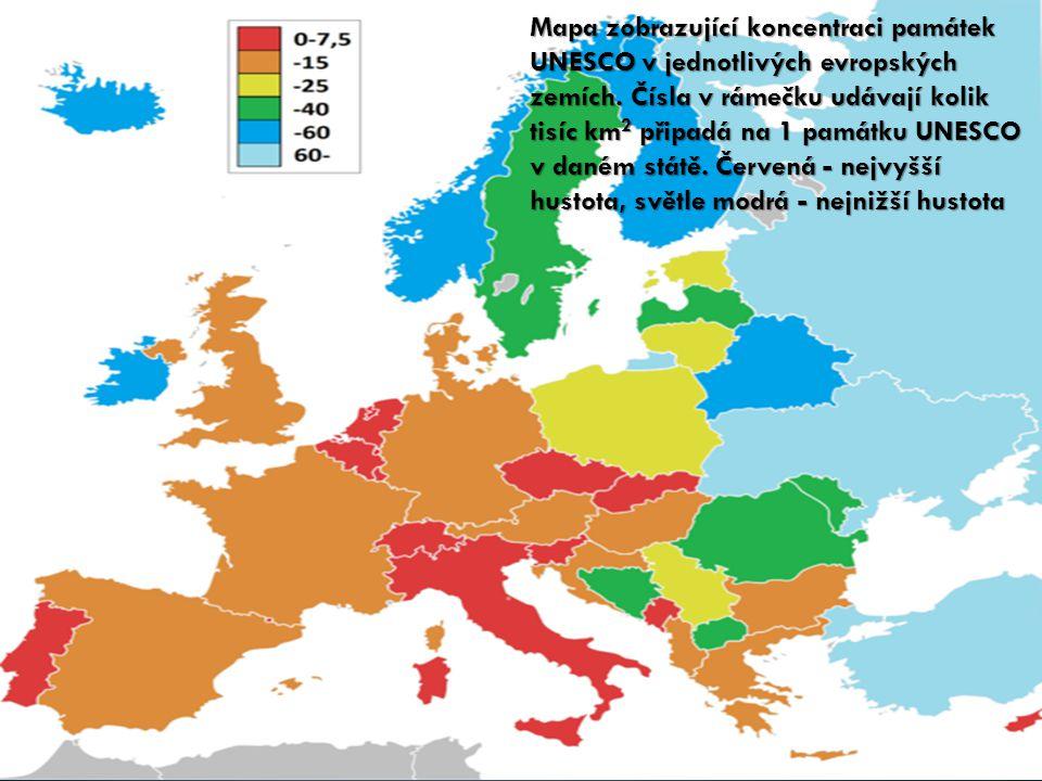 Mapa zobrazující koncentraci památek UNESCO v jednotlivých evropských zemích.