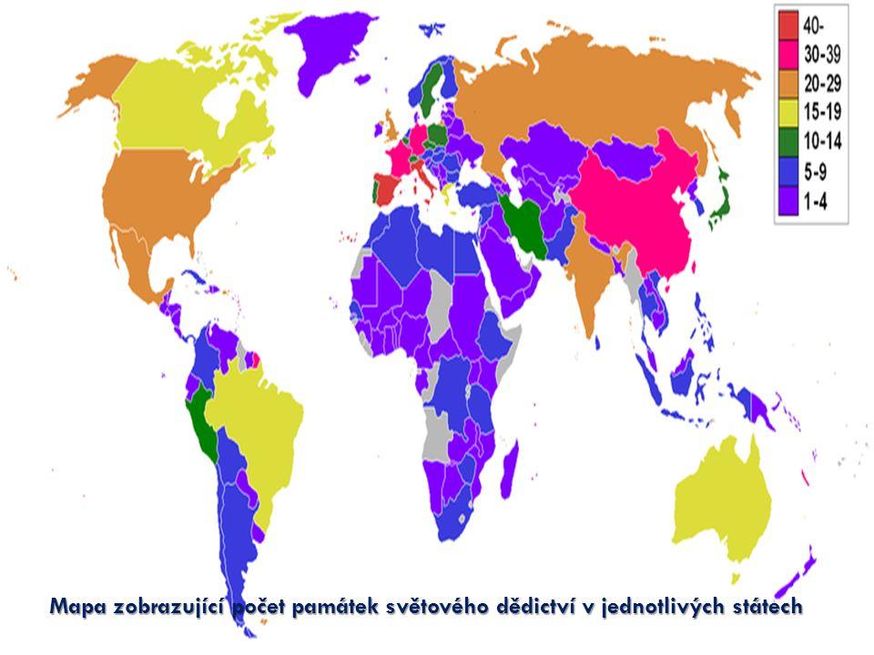 Mapa zobrazující počet památek světového dědictví v jednotlivých státech