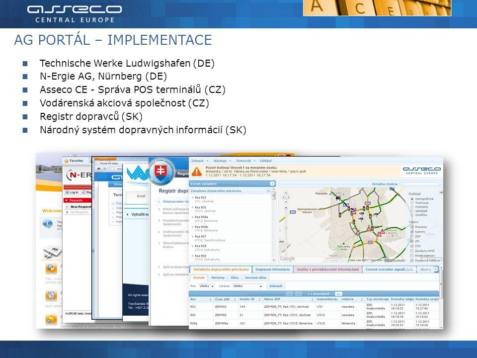 AG PORTÁL – IMPLEMENTACE Technische Werke Ludwigshafen (DE) N-Ergie AG, Nürnberg (DE) Asseco CE - Správa POS terminálů (CZ) Vodárenská akciová společnost (CZ) Registr dopravců (SK) Národný systém dopravných informácií (SK) 43