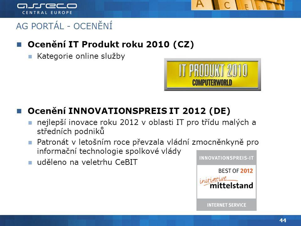AG PORTÁL - OCENĚNÍ Ocenění IT Produkt roku 2010 (CZ) Kategorie online služby Ocenění INNOVATIONSPREIS IT 2012 (DE) nejlepší inovace roku 2012 v oblasti IT pro třídu malých a středních podniků Patronát v letošním roce převzala vládní zmocněnkyně pro informační technologie spolkové vlády uděleno na veletrhu CeBIT 44