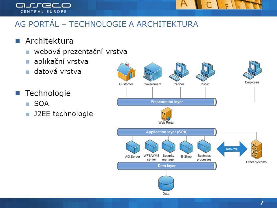AG PORTÁL – TECHNOLOGIE A ARCHITEKTURA Architektura webová prezentační vrstva aplikační vrstva datová vrstva Technologie SOA J2EE technologie 7