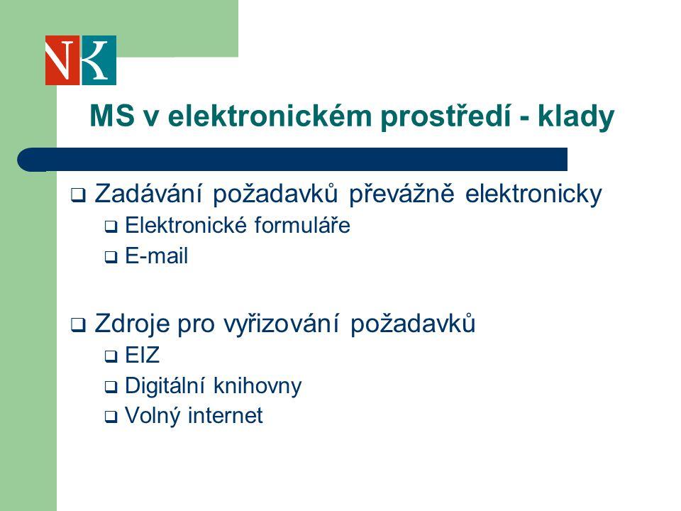 MS v elektronickém prostředí - klady  Zadávání požadavků převážně elektronicky  Elektronické formuláře  E-mail  Zdroje pro vyřizování požadavků  EIZ  Digitální knihovny  Volný internet