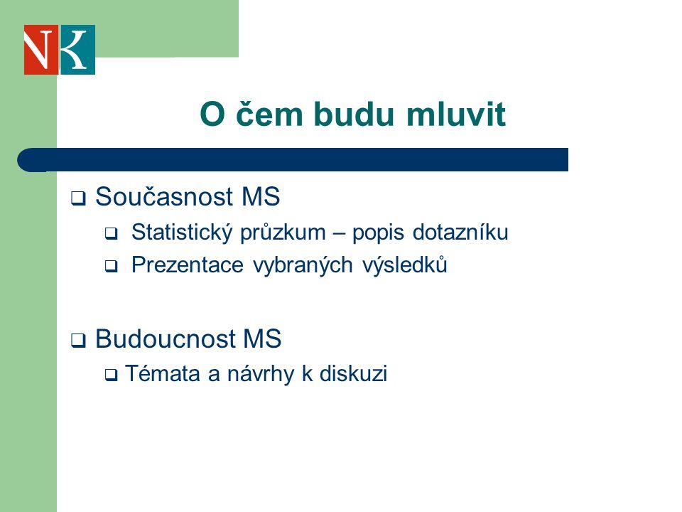 O čem budu mluvit  Současnost MS  Statistický průzkum – popis dotazníku  Prezentace vybraných výsledků  Budoucnost MS  Témata a návrhy k diskuzi