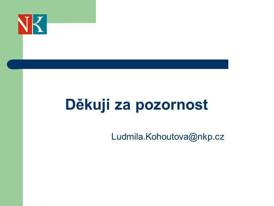 Děkuji za pozornost Ludmila.Kohoutova@nkp.cz