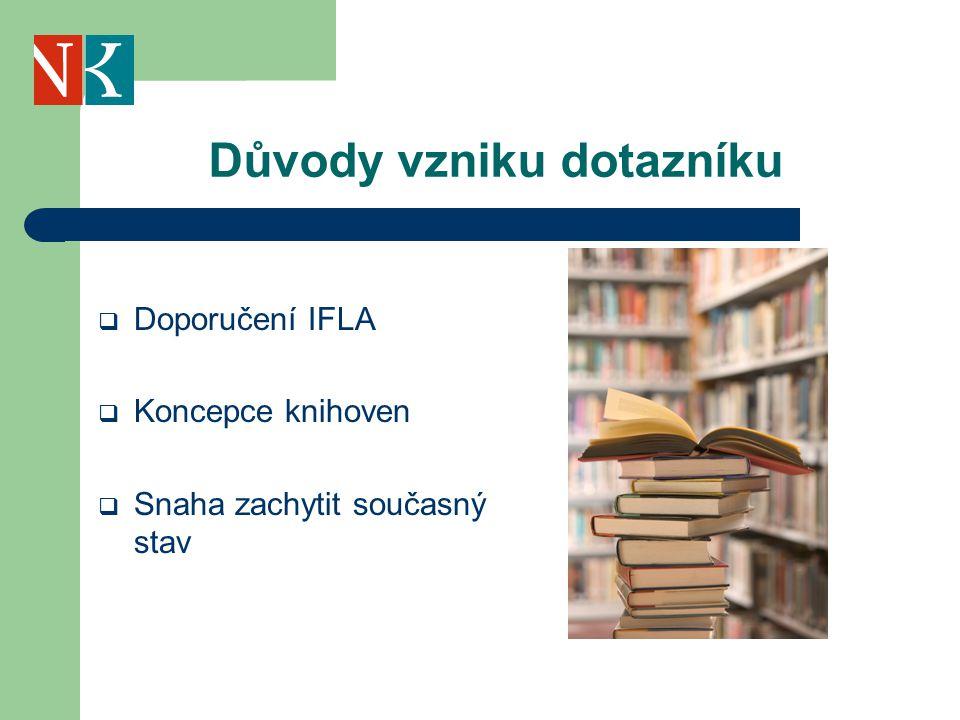Důvody vzniku dotazníku  Doporučení IFLA  Koncepce knihoven  Snaha zachytit současný stav
