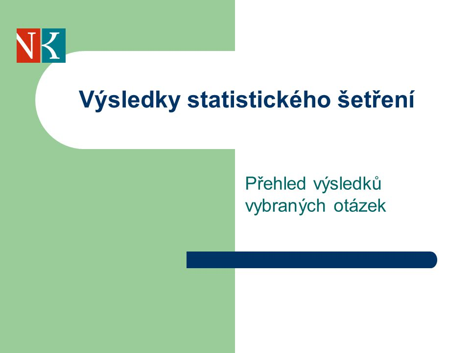 Výsledky statistického šetření Přehled výsledků vybraných otázek