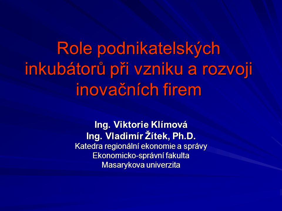 Role podnikatelských inkubátorů při vzniku a rozvoji inovačních firem Ing.