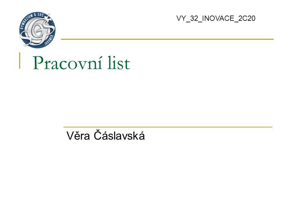 Pracovní list Věra Čáslavská VY_32_INOVACE_2C20