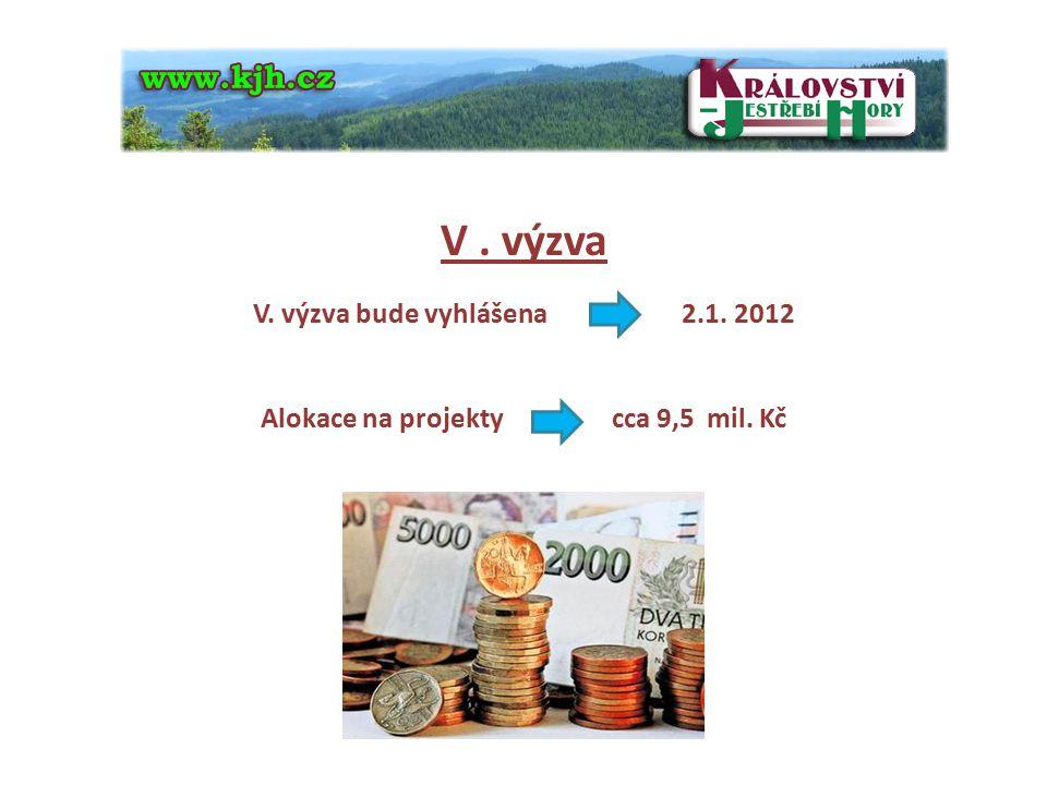 4 V. výzva V. výzva bude vyhlášena 2.1. 2012 Alokace na projekty cca 9,5 mil. Kč